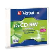CD-RW REGRABABLE SLIM CASE VERBATIM 95161